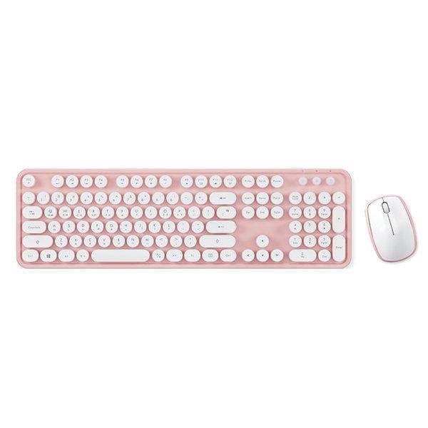 레트로 무선 키보드 + 마우스 세트 KMC-04 핑크 상품이미지