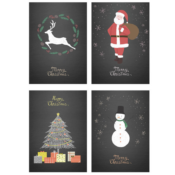 북유럽 인테리어 크리스마스 포스터 블랙 1+1+1+1 상품이미지