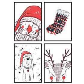 북유럽 인테리어 크리스마스 포스터 화이트 1+1+1+1