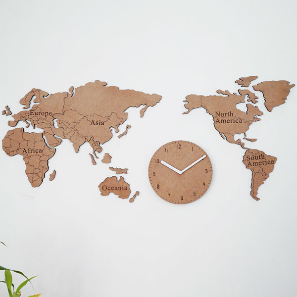 생각대로 세계지도 벽시계/지도시계/원목세계지도 상품이미지