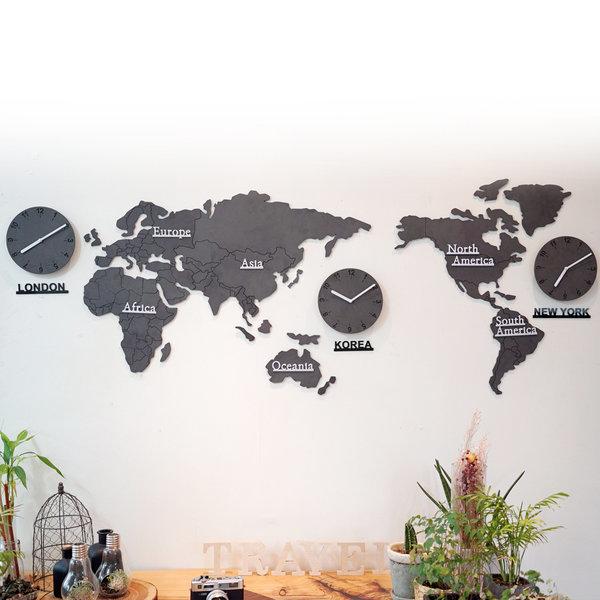 에코보드 세계지도(중) 벽시계/우드지도/원목세계지도 상품이미지