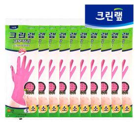 라텍스위생장갑/ 크린랩 ES 고무장갑 핑크 (소 x 10P)