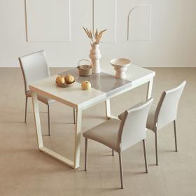 프레임 스틸 대리석 4인 식탁세트(의자4 포함4종/택1)