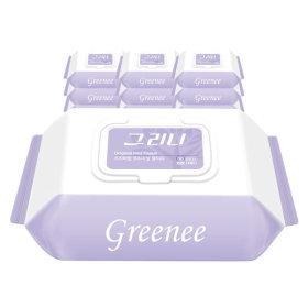 그리니 물티슈 55gsm 캡형 30매 X 10팩 휴대용/엠보싱