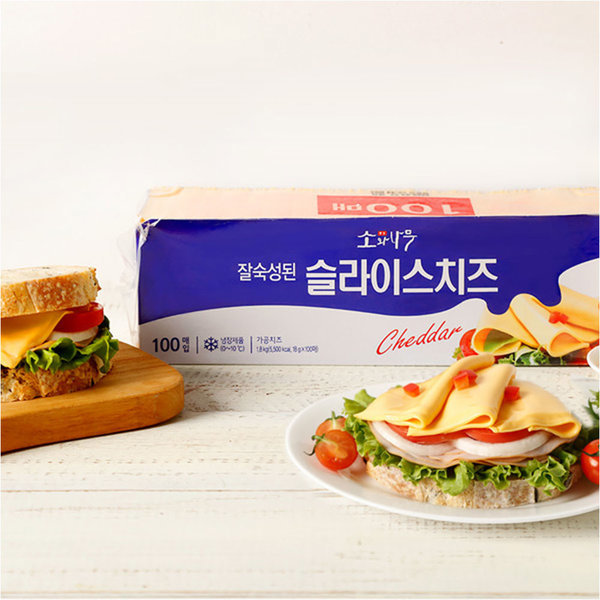 소와나무 슬라이스 치즈 1.8kg (100매) /체다치즈 상품이미지