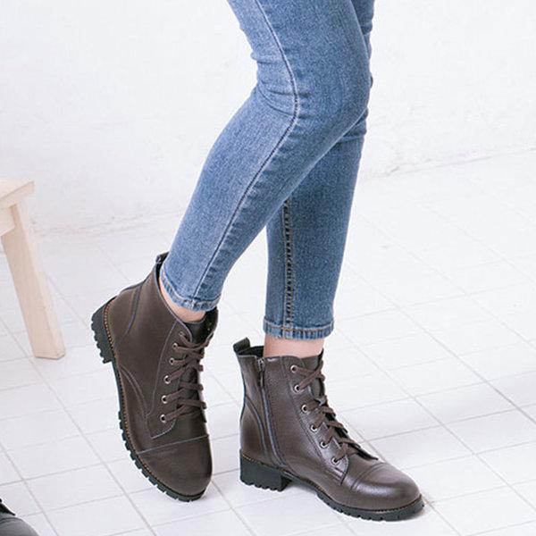 여성워커 플랫워커 가죽 부츠 미들 3.5cm 뉴리얼심플 상품이미지