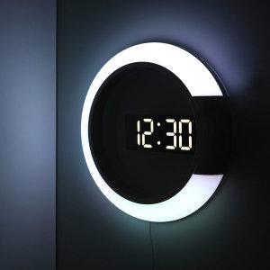 [무아스]거실 LED벽시계 듀얼 미러클락 무드등 무선리모컨조명