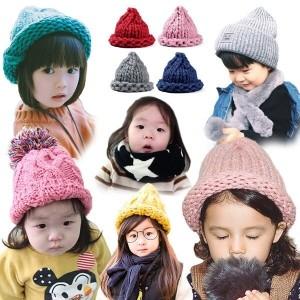 아동모자 털모자 비니 유아 겨울 모자 넥워머 목도리