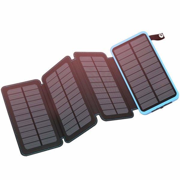 FEELLE 휴대용 태양광 충전기 방수 외장 배터리 Blue 상품이미지