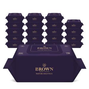 [브라운물티슈]브라운 아기물티슈 네이처 마일드 70매 캡형 10+10팩