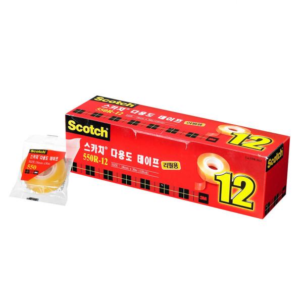 스카치 다용도테이프550 리필 18mm X 30m 12개입(11+1) 상품이미지
