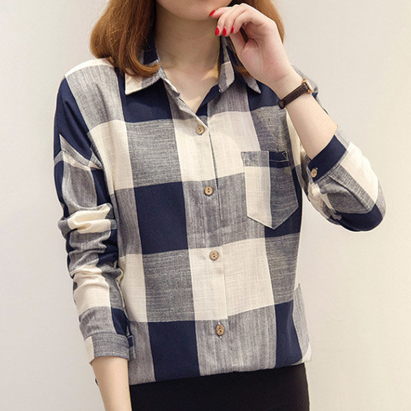셔츠 남방 여성 체크 패턴 빅사이즈 의류 오피스룩 상품이미지