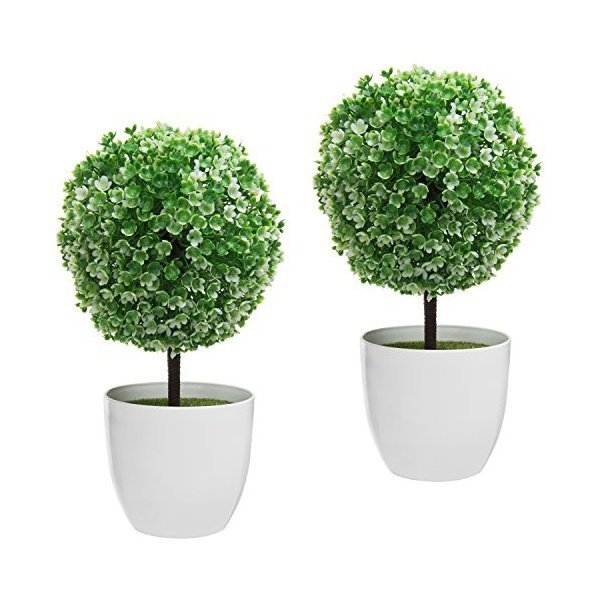 해외쇼핑/MyGift 10 inch Artificial Faux Tabletop Topiary Trees with White Planter Pots  Set of 2 상품이미지