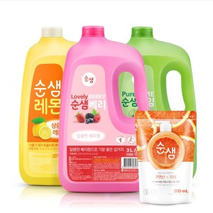 [애경]주방세제 순샘 대용량 3L x2개 (라임1베리1)+사은품