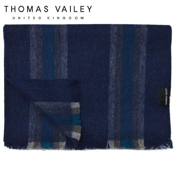 (토마스 베일리)  THOMAS VAILEY  캐시미어 블렌드 울머플러 더블스트라이프 네이비 상품이미지