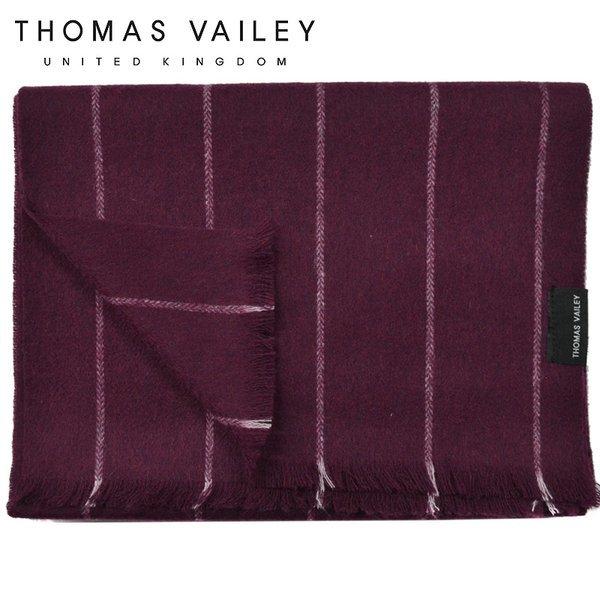 (토마스 베일리)  THOMAS VAILEY  캐시미어 블렌드 울머플러 초크 스트라이프 와인 상품이미지