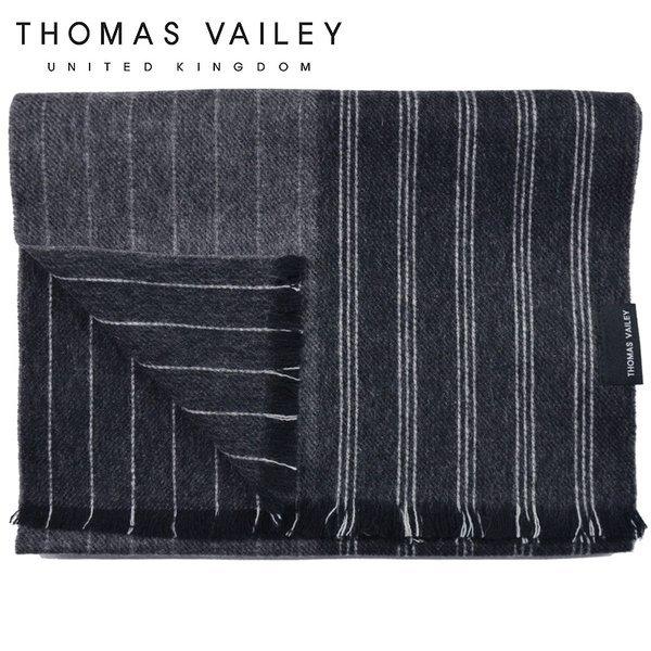 (토마스 베일리)  THOMAS VAILEY  캐시미어 블렌드 울머플러 리버서블 스트라이프 그레이 상품이미지