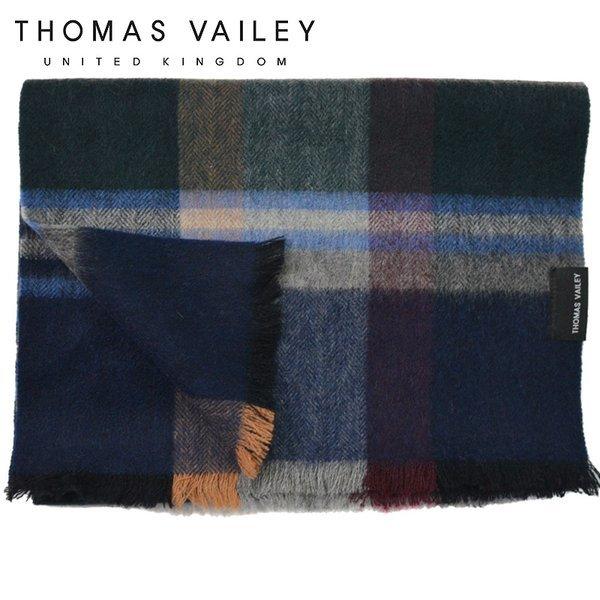 (토마스 베일리)  THOMAS VAILEY  캐시미어 블렌드 울머플러 쿨체크 블랙 상품이미지
