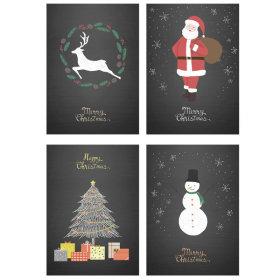 크리스마스 포스터 4P 블랙 / 인테리어 소품장식