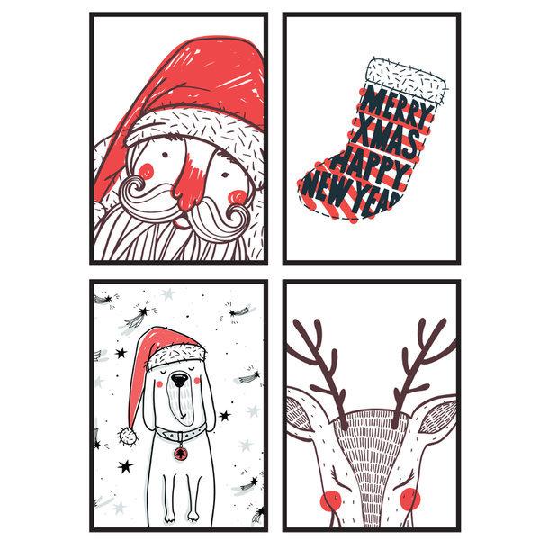 크리스마스 포스터 4P 화이트 / 인테리어 소품장식 상품이미지
