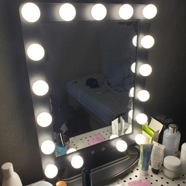 헐리우드 LED 조명 화장대 메이크업거울 탁상용 블랙 상품이미지