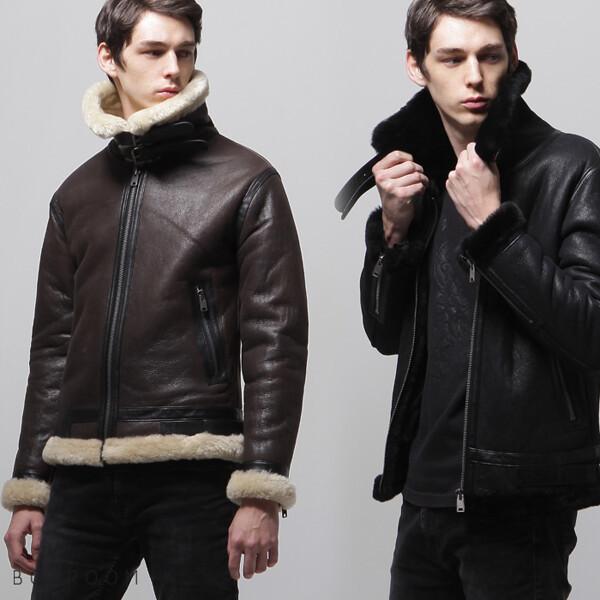 (현대Hmall) 보스룸 남자 심플 양가죽자켓 천연 양털 무스탕 블랙 브라운 110까지 상품이미지