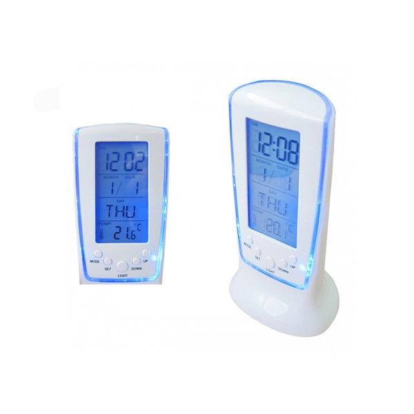 네온 탁상 알람 조명 시계 LED 달력 온도계 상품이미지