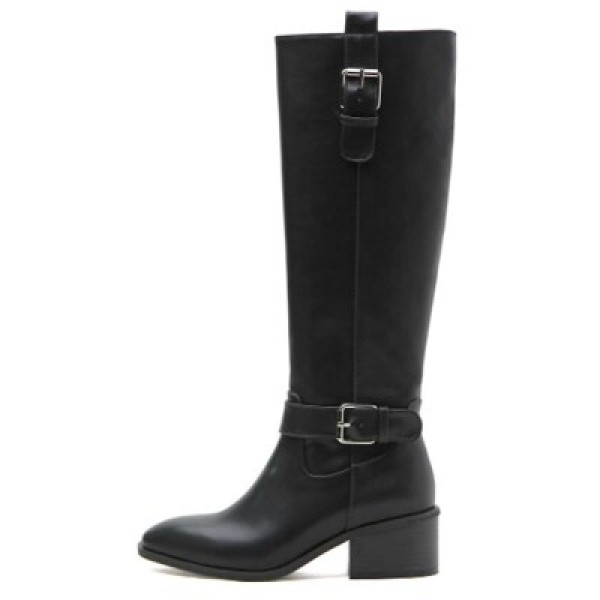 kami et muse Modern belted middle heel long boots KM17w165 상품이미지