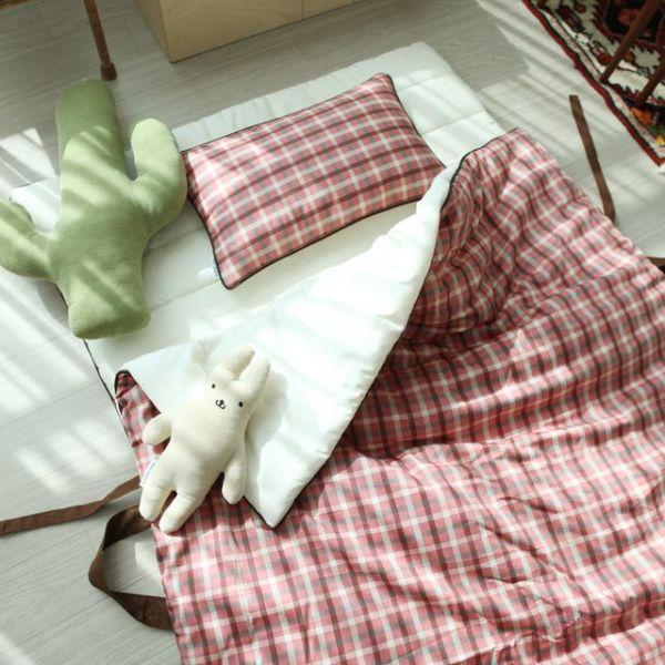 어텀 체크 토들러 베딩(핑크)  홑겹이불-베개솜안함 상품이미지
