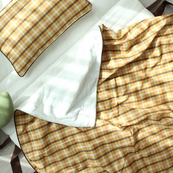 어텀 체크 벨보아 블랭킷(옐로)  L사이즈 상품이미지