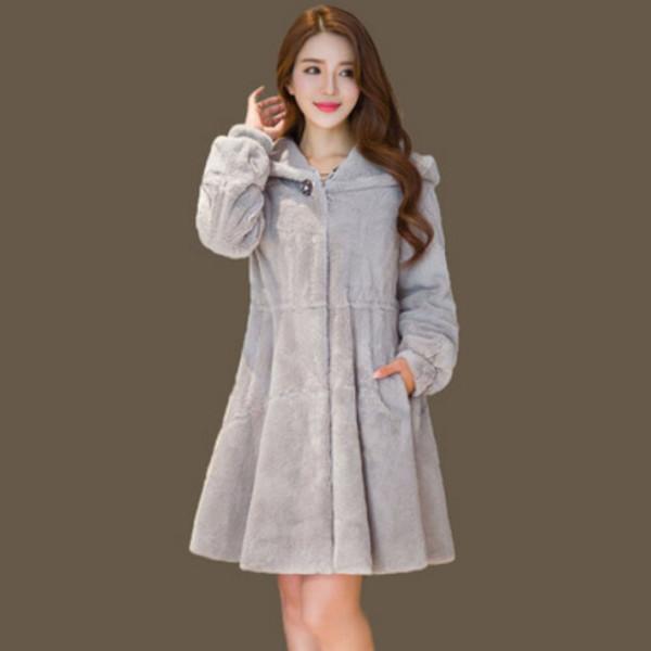 YMT-FMP 밍크코트 후드자켓 여성코트 겨울 인조모피 상품이미지