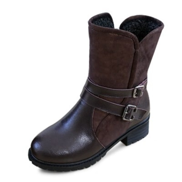 kami et muse Double belted leather middle boots  KM18w188 상품이미지