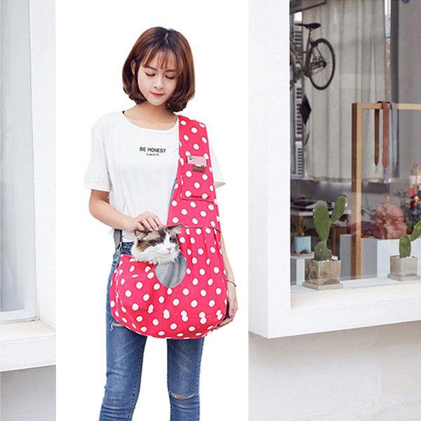 마이펫 도트 슬링백-핑크 (애견 강아지 고양이 가방) 상품이미지
