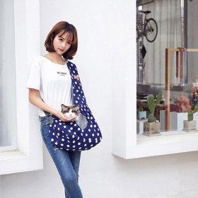 마이펫 도트 슬링백-블루 (애견 강아지 고양이 가방)