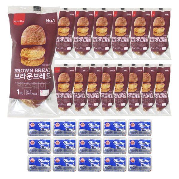 브라운브레드+미니 버터 15개 세트/냉동빵 부시맨빵 상품이미지