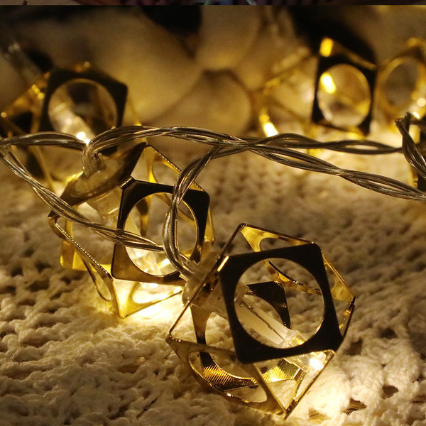 LED 건전지전구 장식 소품조명 램프 메탈골드큐브 웜 상품이미지