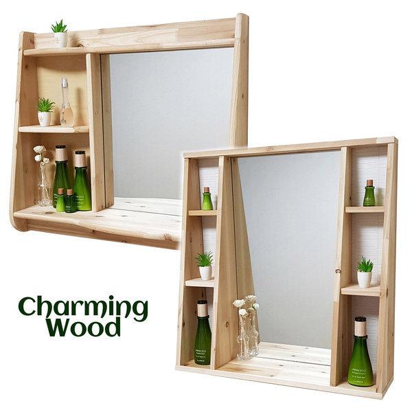 (챠밍우드) 원목 수납선반 거울/벽거울/벽걸이 화장대 상품이미지
