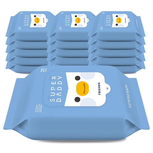 슈퍼대디 아기물티슈 펭귄 휴대리필 20매 16팩(55g) 상품이미지