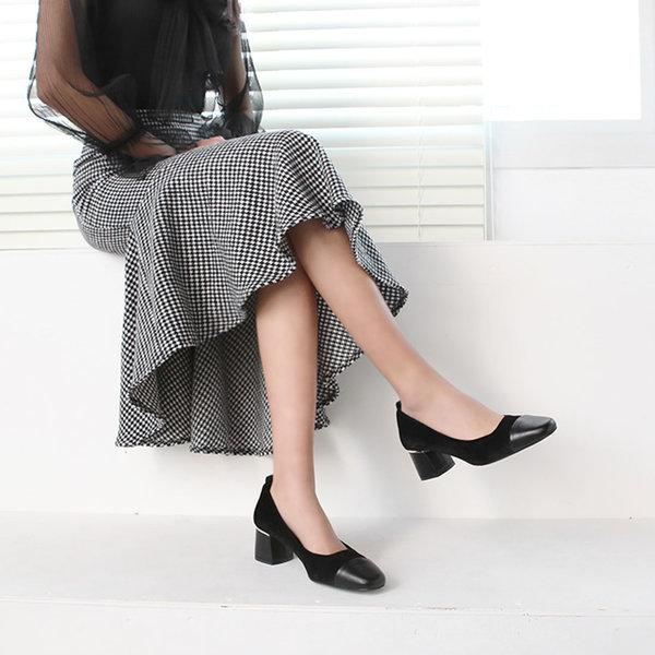 여성신발 미들 벨벳구두 통굽 펌프스 힐 5cm 페이서 상품이미지