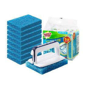 크린스틱 뉴올인원 욕실청소용 핸들+리필 9입