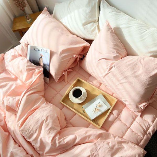 60수 고밀도 핑크 침구-킹풀세트(이불패딩)+킹패드 상품이미지