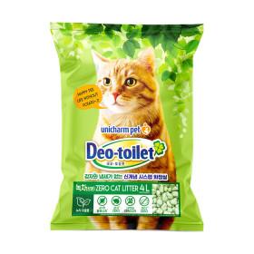 유니참 데오토일렛 고양이모래 녹차함유 소취향균 4L