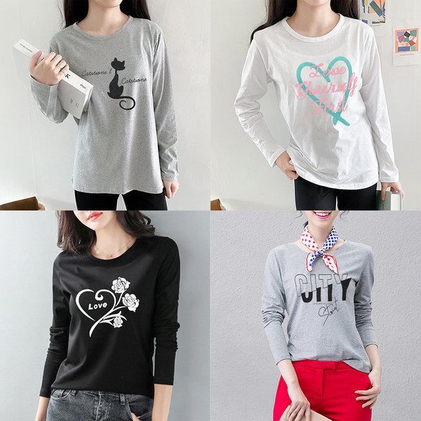 (하나홀릭)티셔츠/맨투맨/레이어드/기모/긴팔/프린트 상품이미지