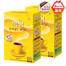 Maxim MOCHA GOLD Soluble Black Coffee 100 Sticks+100 Sticks+Milk Bottle