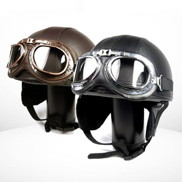 바이크 전동 스쿠터 가죽 고글반모 헬멧 하프페이스 상품이미지
