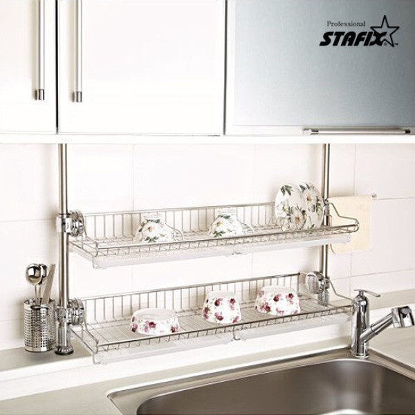 스타픽스  원터치 2단 스텐 선반 식기건조대 (와이드 상품이미지