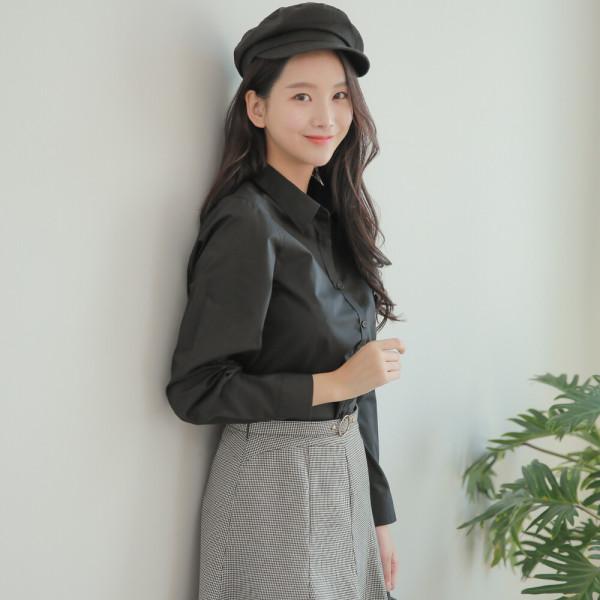 기본스타일 블랙 셔츠 남방 W002 블라우스 여성셔츠 상품이미지