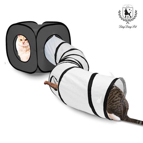 고양이 큐브 터널 텐트형 하우스 그레이 상품이미지
