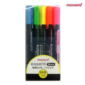 모나미 에센티 스틱 브라이트 5색 고체형광펜