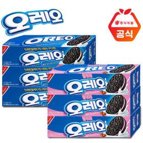 오레오 샌드쿠키 100g 화이트 크림 3개+딸기 크림 3개